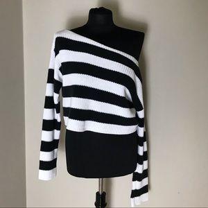 Black/White Off Shoulder Sweater